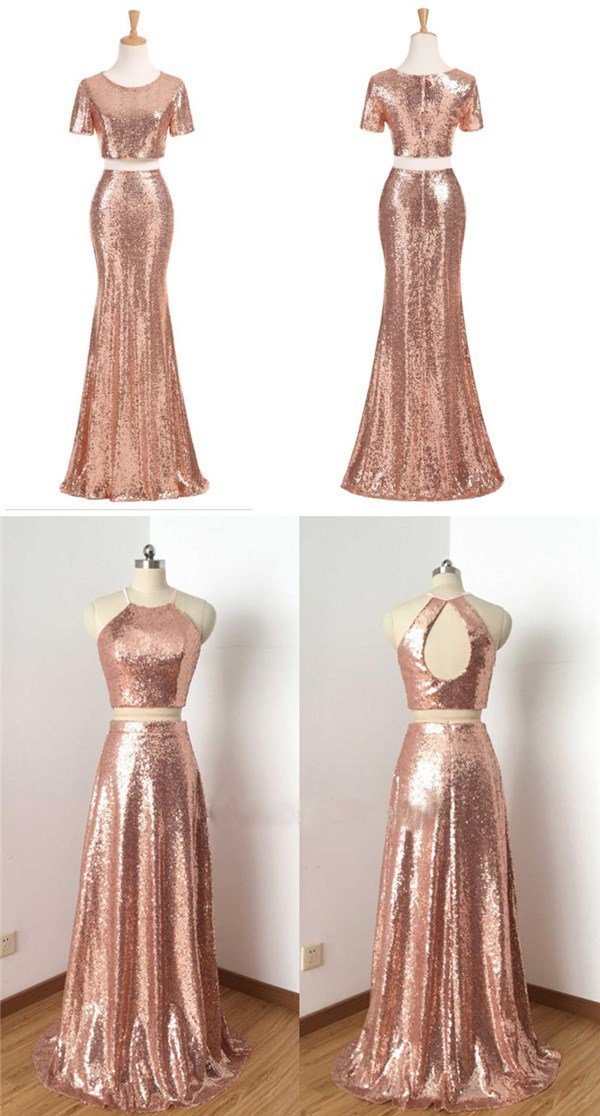 Charming Rose Gold Sequin Two Pieces Long Popular Fashion Prom Dress, Bridesmaid Dress, PD0383 - SposaBridal