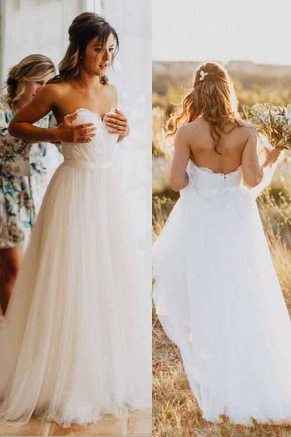 Unique Sweetheart Simple A-line Cheap Wedding Dresses, WD310