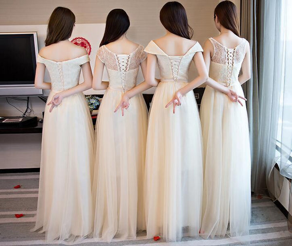 Charming Popular Pretty Cheap Off Shoulder Scoop Bridesmaid Dresses,wedding guest dress, PD0346 - SposaBridal