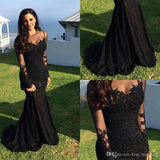Black Lace Mermaid Popular Prom Dress, Sexy Fashion Dress, Long Sleeves Scoop Prom Dress, PD0435 - SposaBridal