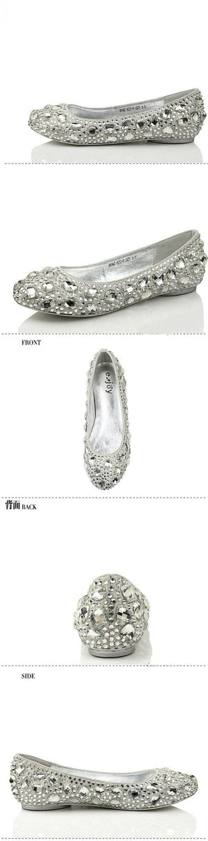 Delicate Crystal Flat Pointed Toe Rhinestone Wedding Bridal Shoes, S005