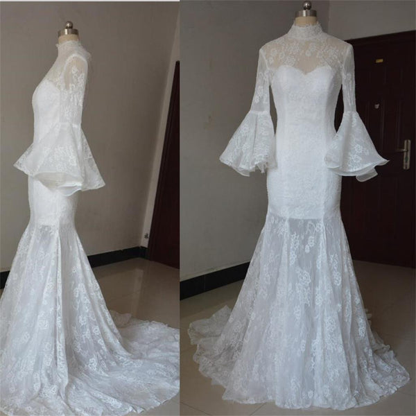 2017 Long Sleeves High Neck Open Back Lace Unique Stunning Glamorous Wedding Dress, Bridals Dress, WD0255