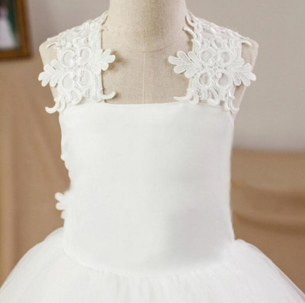 Vintage Princess Square Neck Sleeveless Criss-Cross Back Lace Flower Girl Dresses, FGS031