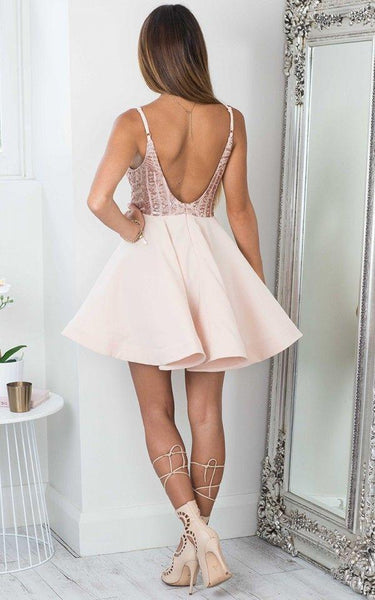 Cheap Simple Sparkly Sequin Sexy Cute Homecoming Dresses 2018, CM466 - SposaBridal