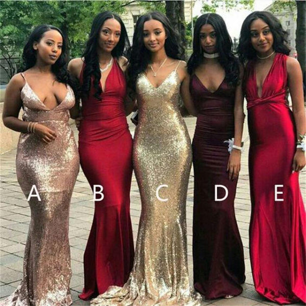 Cheap Mismatched V Neck Sexy Mermaid Bridesmaid Dresses, Popular Prom Dress, PD0369 - SposaBridal