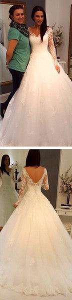 Charming V-Neck Long Sleeve Lace Wedding Party Dresses, Gorgeous Bridal Gown, WD0032 - SposaBridal