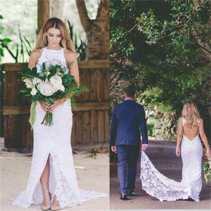2018 Open Back High Neck Sleeveless Lace  Wedding Dress With Train, Bridals Dress, WD0258