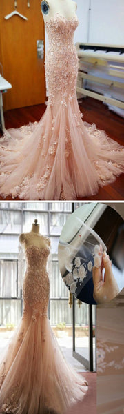 Pink Lace Sweetheart Sexy Mermaid Wedding Party Dresses With Appliques, WD0033