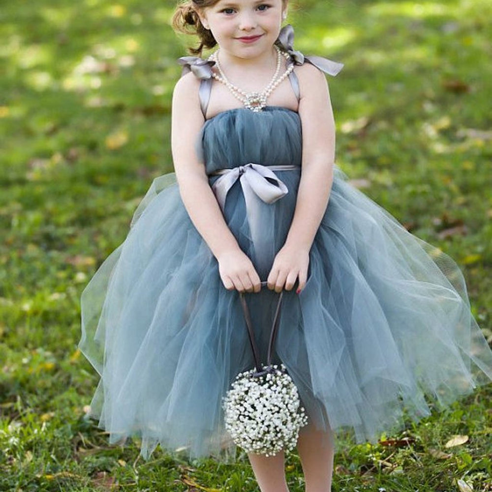 Dusty Blue Pix Tutu Dresses Tulle Flower Girl Dresses Cheap Little