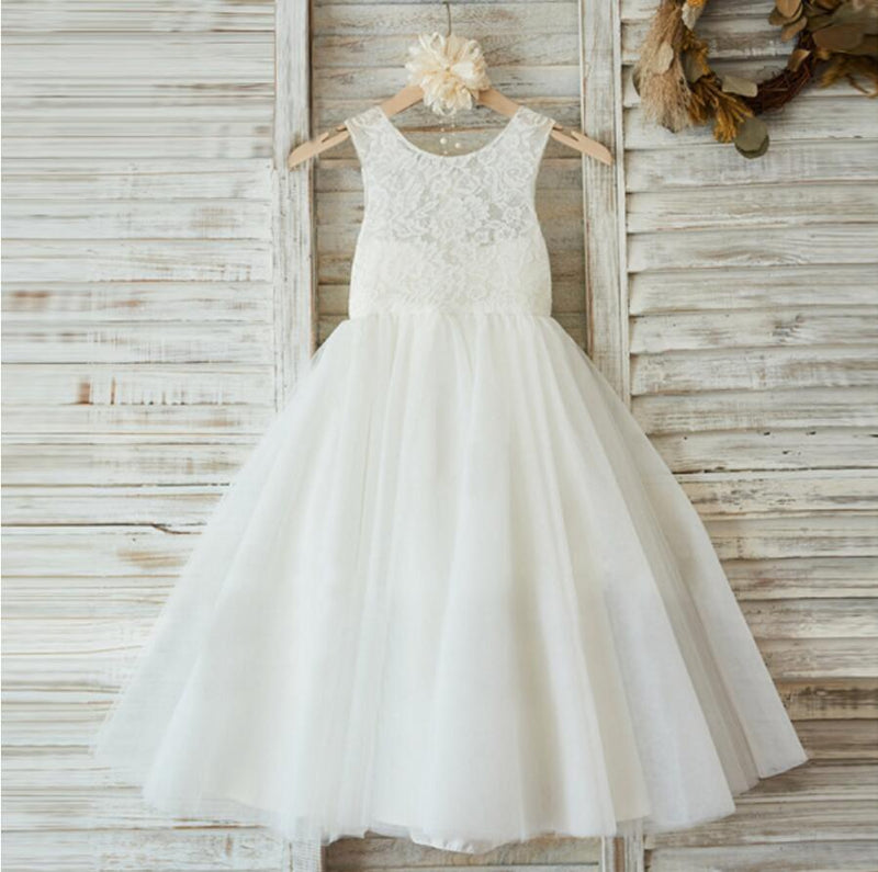 Lovely Princess Off White Lace Tulle Sleeveless Round Neck Flower ...