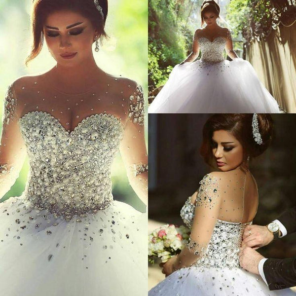 Gorgeous Illusion Long Sleeve Beaded Rhinestone Popular Ball Gown Wedding Dress, WD0200