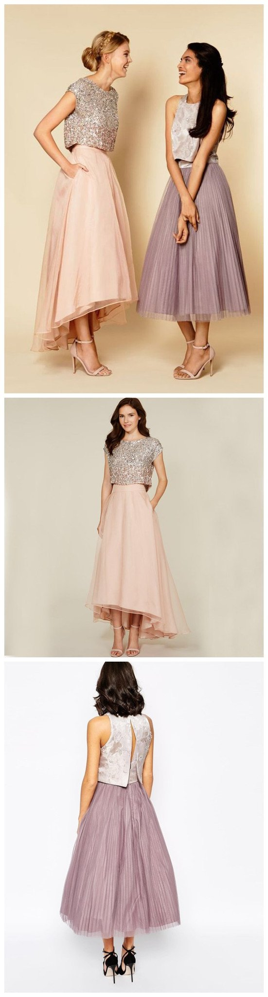 Pretty Two Pieces Cap Sleeve Sequin Top Organza Long Bridesmaid Dresses Cheap Prom Dresses, WG38