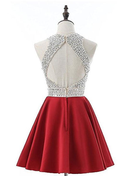 Cheap Halter Heavily Beaded Cute Red Homecoming Dresses 2018, CM475 - SposaBridal