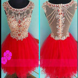 Blush red mini sparkly cute cap sleeve vintage unique homecoming prom dress,BD0037 - SposaBridal