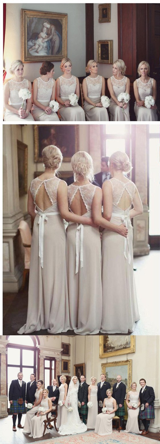 Charming Open Back Lace Top Illusion Cheap Long Wedding Party Dress Gown Bridesmaid Dresses, WG039 - SposaBridal