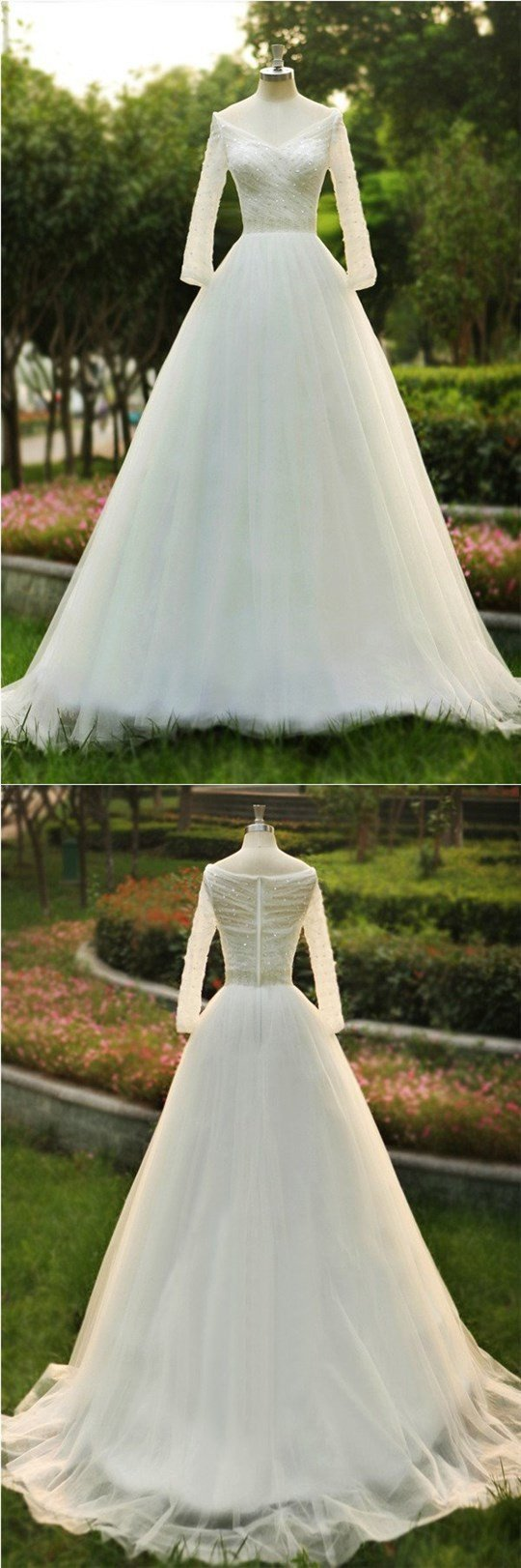 Long sleeves V Neck Sequin A-line New Design Custom Popular Wedding Dress, bridals dress, WD0251