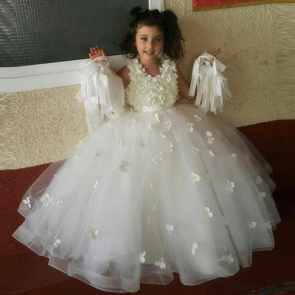 Wedding Flower Girl: Lovely Cute Sleeveless Princess Floor-length A-line