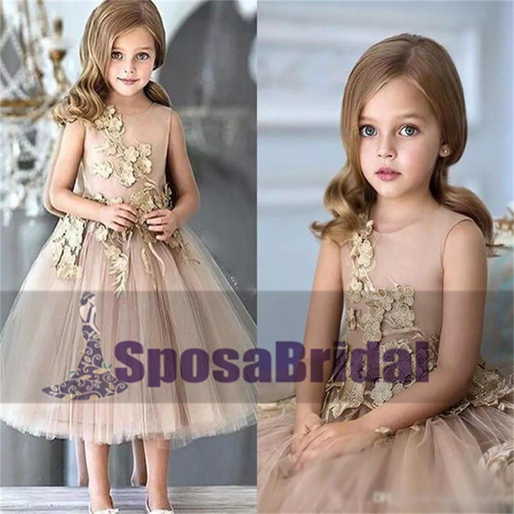 Scoop Sleeveless Short Cheap Custom Flower Girl Dresses, Fashion Little Girl Dresses, FG101