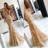 Charming Lace Yellow Mermaid Popular Prom Dress, Half Sleeves Prom Dresses, Evening Dress, PD0444 - SposaBridal
