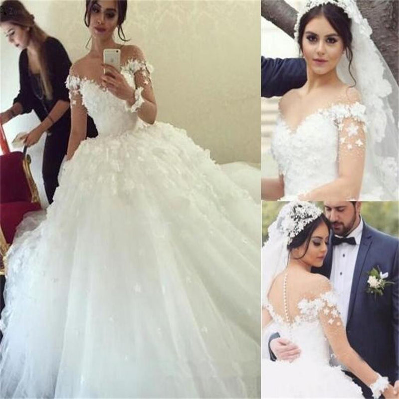 New Design Lace Appliques White Unique Charming Handmade Wedding Gowns, PD0303