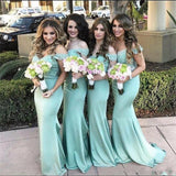 Charming Popular Off Shoulder Lace top Mermaid  Bridesmaid Dresses, wedding guest dress, PD0337 - SposaBridal