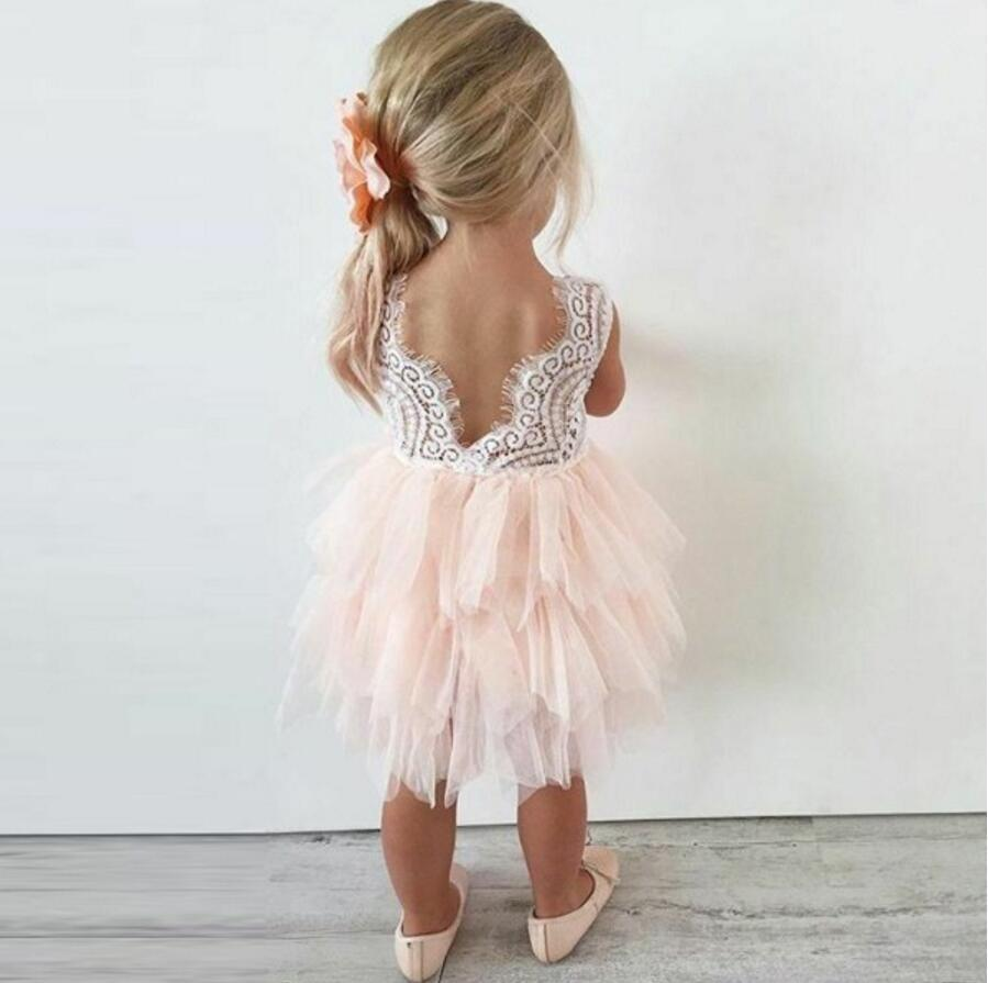 Pink Lace Tulle Flower Girl Dresses Lovely Tutu Dresses Fgs003