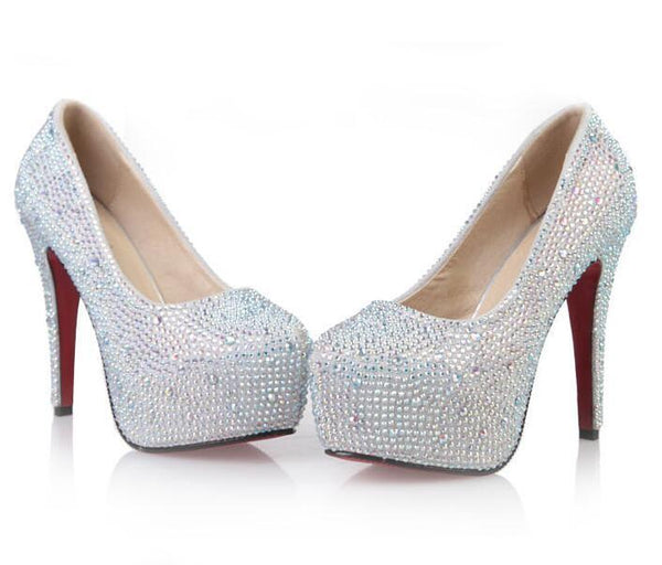 Rhinestone High Heels Platform Shoes Women Pumps Party Wedding Shoes, S034