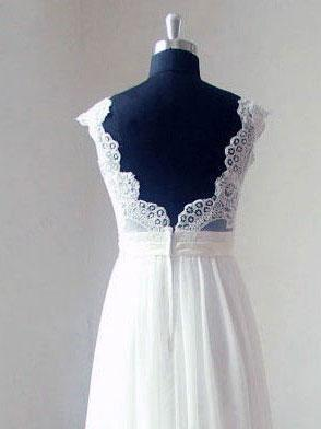 Cap Sleeve V Neck Lace Simple Cheap Beach Wedding Dresses, WD321 - SposaBridal