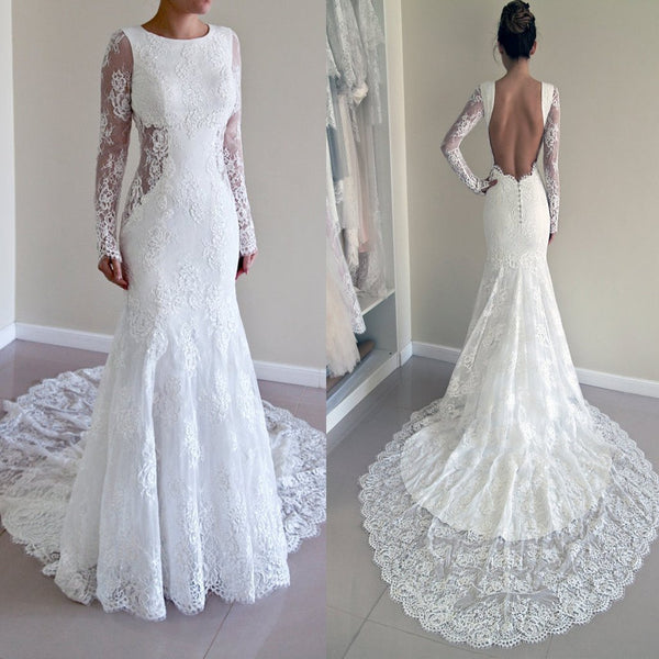Gorgeous round neck long sleeve sexy mermaid backless lace for Gorgeous backless wedding dresses