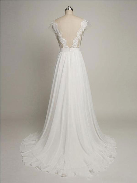 Backless See Through Cap Sleeve Lace Simple Cheap Beach Wedding Dresses, WD322 - SposaBridal