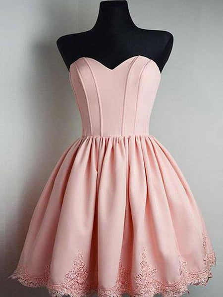 Cheap Short Simple Cute Sweetheart Pink Homecoming Dresses 2018, CM480 - SposaBridal
