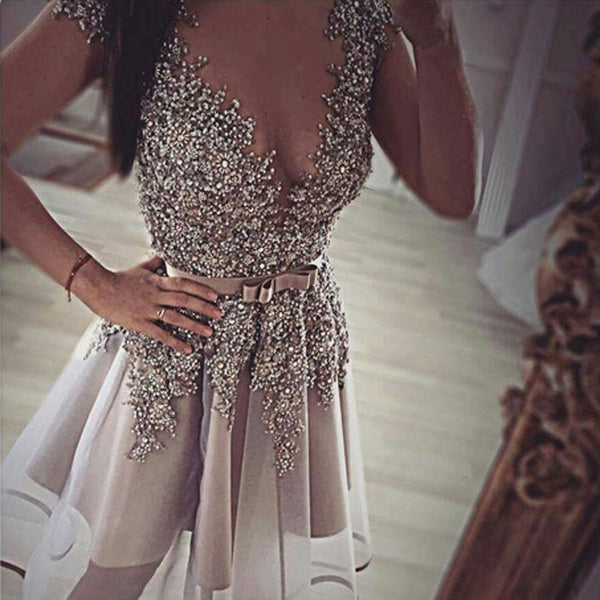 Grey gorgeous v-neck sexy unique formal homecoming prom gown dress,BD0041