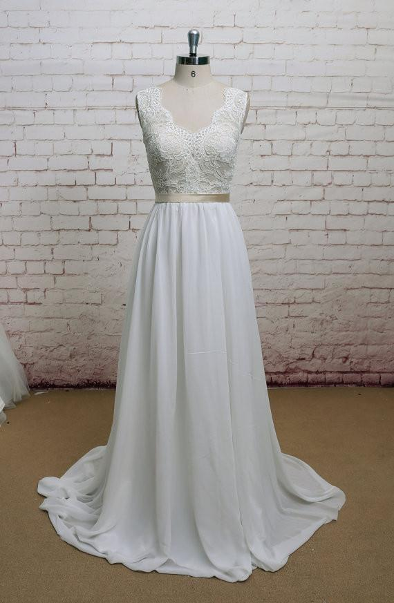 Backless V Neck Cap Sleeve Lace Simple Cheap Beach Wedding Dresses, WD323 - SposaBridal