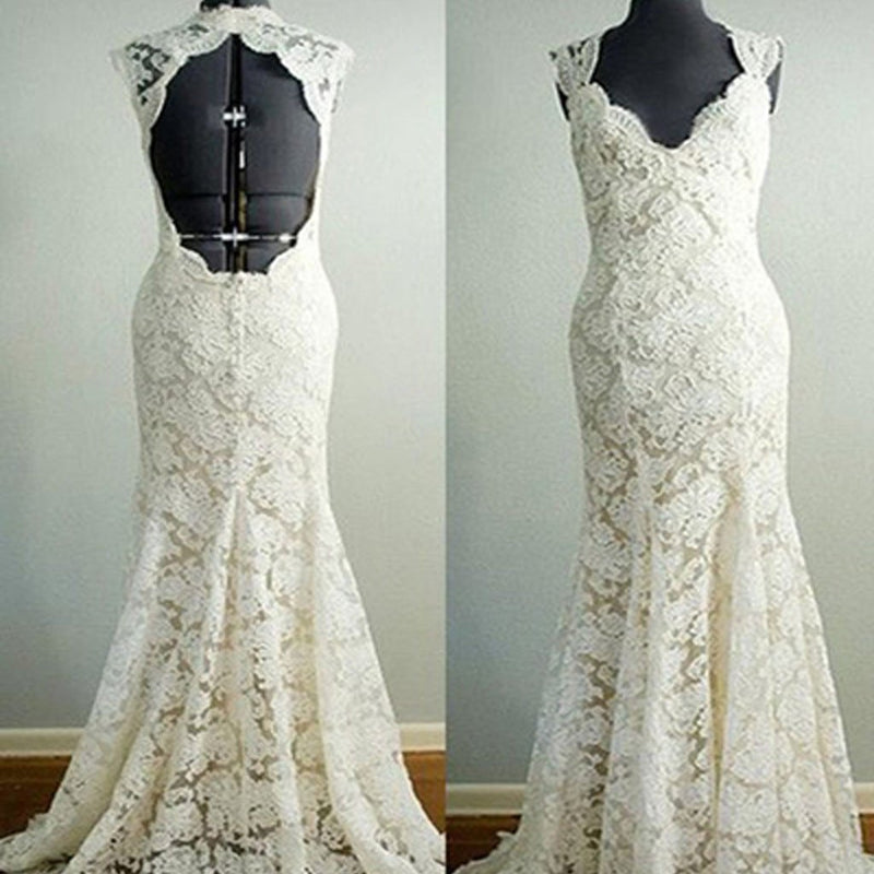 Vantage Beige Lace Open Back Long Mermaid Wedding Party Dresses ...