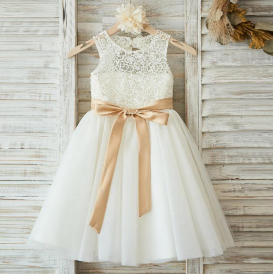 Illusion Lace Top Open Back Lovely Flower Girl Dresses, Cheap Little ...