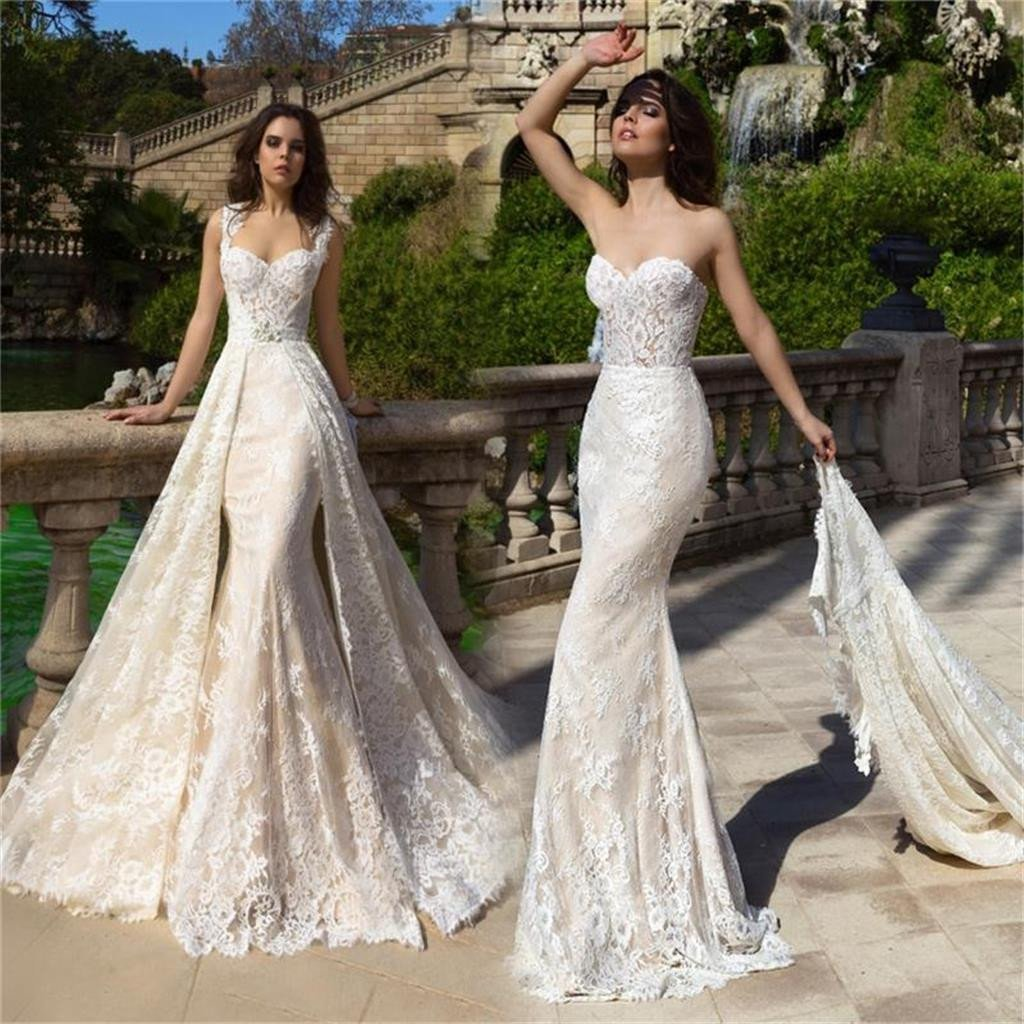 Detachable Lace Mermaid Popular Stunning Beautiful Wedding Dress, Bridals Dress, WD0257