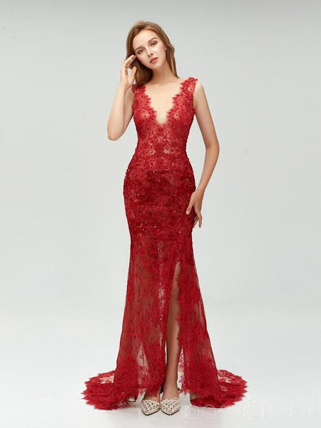 2020 Charming Elegant Red Full Lace Mermaid  ELegant Side Split Prom Dresses,PD1025