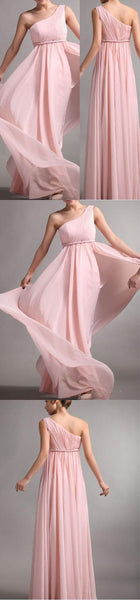 One Shoulder Pink Chiffon Simple Cheap Long Pleating Wedding Party Bridesmaid Dresses, WG49