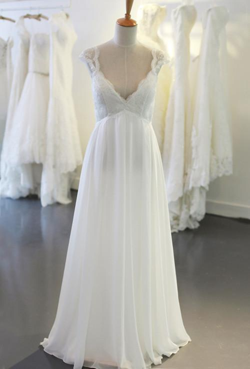 Cap Sleeve V Neck Casual Simple Beach Wedding Dresses, WD326 - SposaBridal