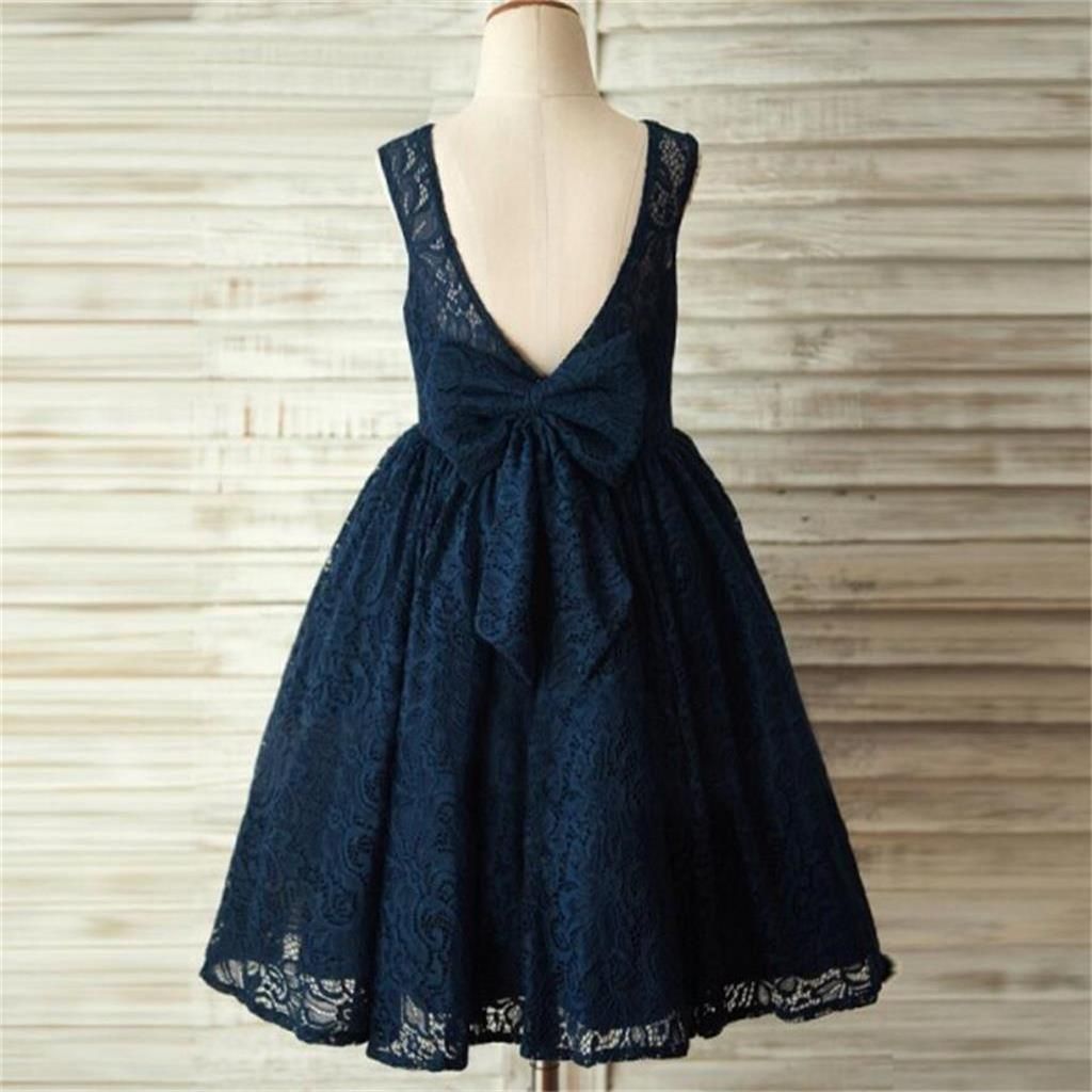 Navy blue lace lovely cute flower girl dresses with bow junior navy blue lace lovely cute flower girl dresses with bow junior bridesmaid dresses fg084 izmirmasajfo