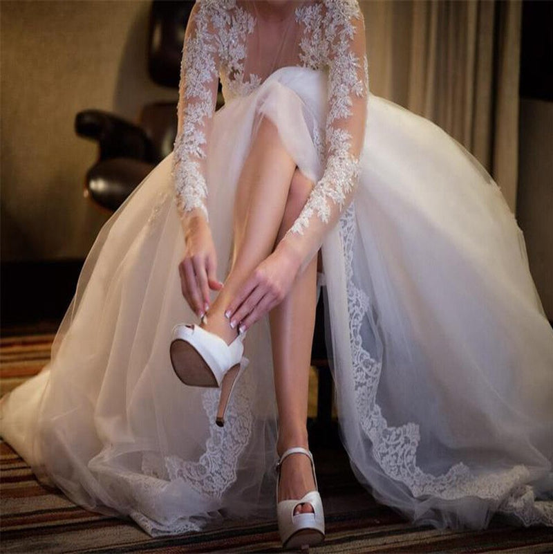 Charming Popular Long Sleeve Lace See Through Wedding Party Dresses, WD0049 - SposaBridal