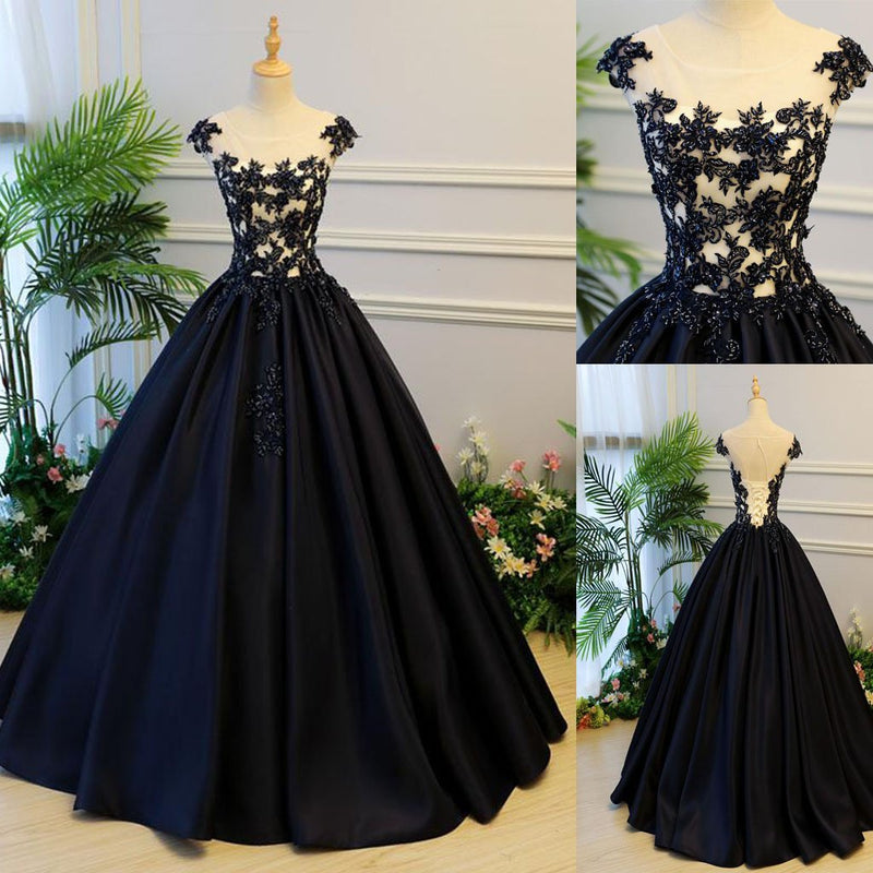 Black Round Neck Satin Long Top Lace and Beaded Prom Dresses ...