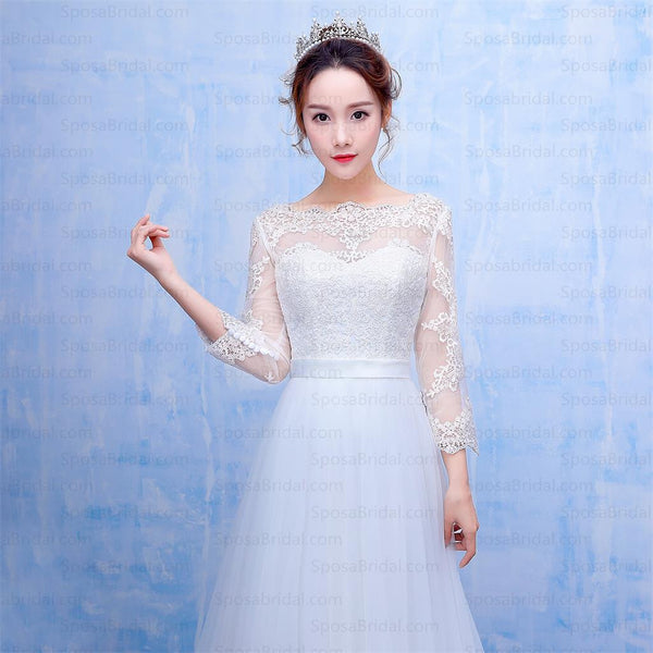 Long Sleeves Lace Applique Crystal Elegant Beautiful Real Made Newest Style Wedding Dresses, WD0223