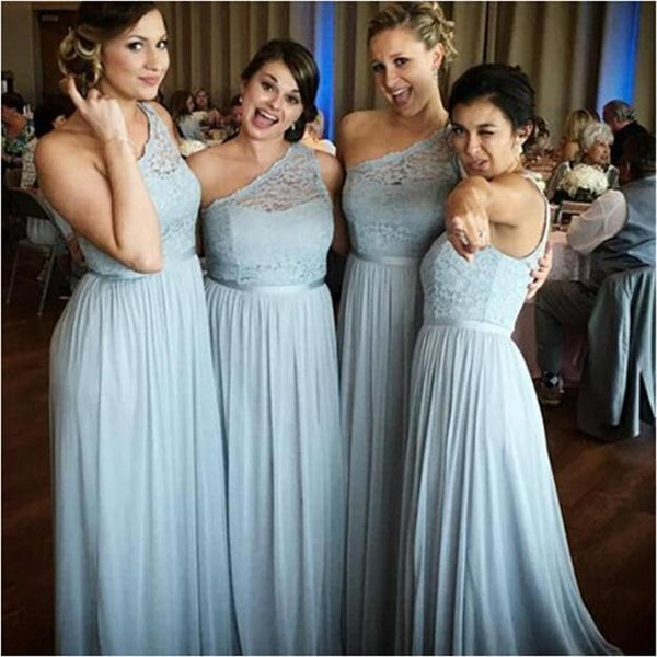 Custom Lace One Shoulder Bridesmaid Dresses, Simple Fashion Popular Bridesmaid Dress, PD0431