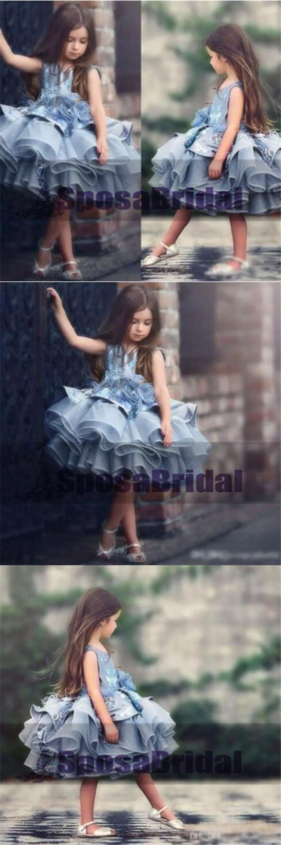 Blue Short Cute Best Sale Soft New Unique Flower Girl Dresses, Popular Little Girl Dresses, FG100