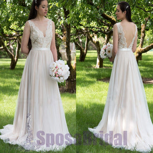 Long V Back Tulle and Lace A-line Simple Soft Affordable Wedding Dresses, beach wedding dresses,  PD0559
