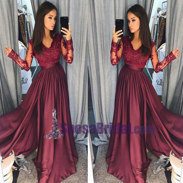 Charming Long Sleeves V neck Top Lace Chiffon Navy Grey Burgundy Prom Dresses, Evening dress, PD0668 - SposaBridal