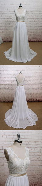 A-line Chiffon With Lace Simple V-Neck Free Custom Handmade Wedding Dresses, WD0135 - SposaBridal