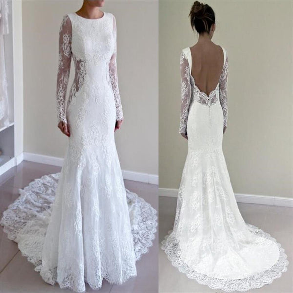 Lace Custom Made Open Back Most Popular Trumpet Silhouette Wedding Dresses,  WD0228
