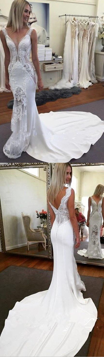 Sexy V Neck White Ivory Mermaid Lace New Design Wedding Dresses , Wedding Gown, PD0275